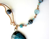 Unique Statement Necklace, Druzy Agate Pendant, Copper Jewelry, Wire Wrapped Necklace, Blue Pendant, Gift for Her