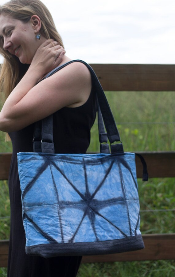 Shibori Quilted Tote Bag / Handmade Hand Dyed Blue Fabric Handbag