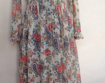 Vintage 1970 boho long dress shear fabric floral paisley print by Act I sz XS S