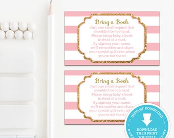 Pink and Gold Book Request Card, Baby Shower Printable, Instant Download, Gold Glitter Baby Shower, Pink & Gold Baby Shower, Printable Game