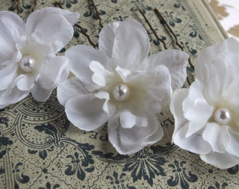 deplphinium  hair pins, white fabric flowers, bridal accessory, set of 3
