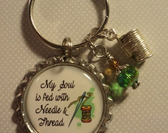 My soul is fed with needle and thread keychain with charms