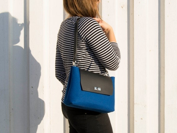 Felt and leather mini FLAP BAG, leather strap, blue, crossbody bag, 100% wool felt, made in Italy