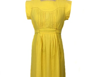 vintage 1970s yellow day dress / Act I / cotton / rainbow trim / belted dress / women's vintage dress / size 11/12