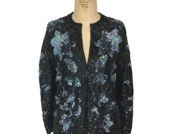 vintage floral sequin cardigan sweater / black iridescent / floral / embellished sweater / disco NYE / women's vintage sweater / size large