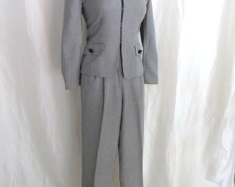 Vintage 80s womens pants suit, womens business suit, black white jacket pants, ladies pant suit