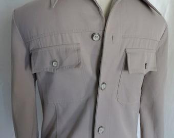 Vintage 80s mens shirt jac, shirt jacket, western, hunter, khaki,  leisure, casual