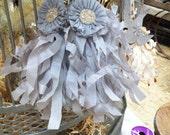 Vintage Christmas Ornament Gray Tassel with Glitter Rosette Tissue Paper French Inspired Paris Silver Mercury Glass Handmade