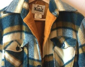 Vintage Woolrich Fleece-Lined Flannel Men's Medium Blue-Green, White, and Yellow - Orange Plaid Lumberjack