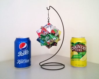 Soda Pop Can Origami Ornament, 15 Brand Mix.  Upcycled Recycled Repurposed Art