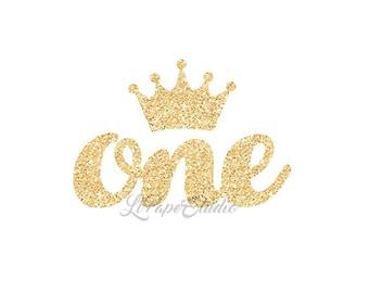 Gold Glitter Iron On, Princess Birthday, One Iron On, DIY Iron On, Printable Iron On Transfer