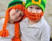 Leprechaun Hats Saint Patricks Day photography props Kiss Me I'm Irish Bearded Beanie