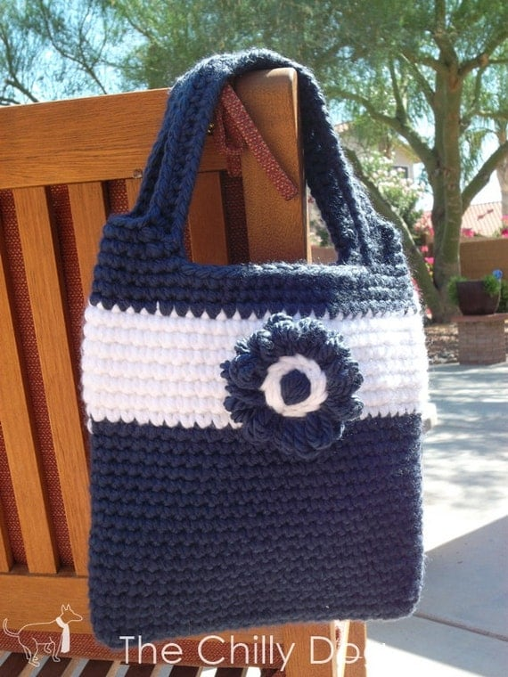 Blue and White Daisy Bag Crochet Pattern PDF