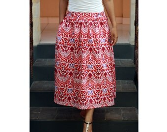 Mid Calf Skirt Ethnic Red, Tribal Skirt, Red Ikat Skirt, Midi Skirt, Women's Long Skirt