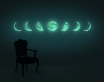 Moon Phase night-light wall-sticker, Clair De Lune series  (glow in the dark moon wall-sticker)