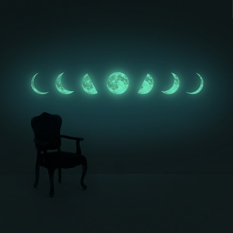 Moon Light For Bedroom: Moon Phase Night-light Wall-sticker Clair De Lune Series