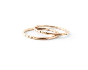 Carved Tribal Stacking Ring Set / solid 14k gold or gold fill / dainty layering rings / single or pair