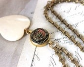 Creamy White Heart Pendant Long Necklace Heart, Antique Picture Button, Stunning Gift Valentine for Her, Antique Button Jewelry veryDonna