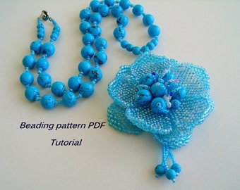 Necklace - Blue flower.  Beading Tutorial. Beading pattern PDF. Instant download.