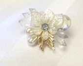 Vintage Hair Clip, Handmade Hair Accessory, Pearl Crystal Clip, Hair Jewlery, Wedding Hair Accent