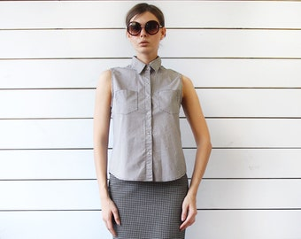 Vintage black white checkered plaid cotton sleeveless blouse shirt top M