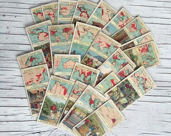 Products of the World, complete set of 25 cards antique cigarette cards, 1908.