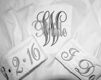 Fast Shipping - Bridal Party Shirts, Monogram Bride Shirts, Wedding Day Shirts, Monogram Button Down Shirts, Monogram Wedding Shirts