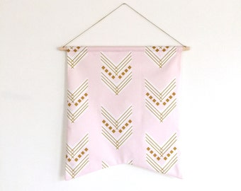 Nursery Wall Art Pink Gold Chevron. Nursery Banner. Wall Art. Wall Hanging. Fabric Wall Decor. Nursery Decor. Nursery Wall Art.