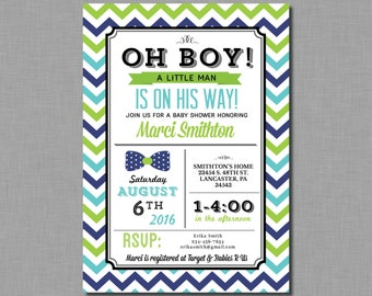 Bow Tie Baby Shower Invitations lime green navy turquoise blue boy Benjamin BD59 Digital or Printed