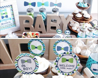 Bow Tie Baby Shower Decorations Package boy navy lime green Benjamin BD51 Printable