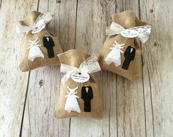 10 wedding bride and groom burlap rustic favor bags.