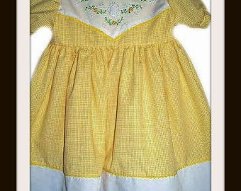 Girls Gingham Dress,  Made to Order.Children's Clothing, Yellow Dress