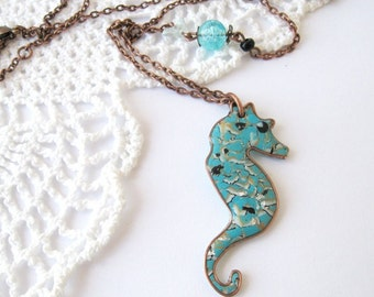 SALE Sea horse Pendant on chain Necklace Black Friday Etsy Free shipping