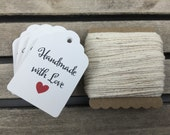 100 Count White Handmade With Love Favor Tags With Natural Twine (HM0001)