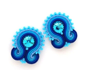 Clip on earrings - soutache earrings - birthday for girlfriend - Gift for mom - Gift for wife - mothers day gift earrings wholesale jewelry