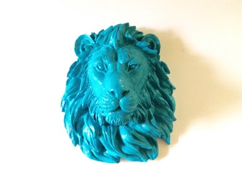 BRIGHT TURQUOISE Faux Taxidermy Large Lion Head Wall Hanging Wall mount / safari animal / blue animal head / kids room decor / office/ gifts