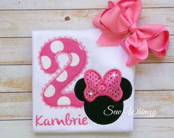 Minnie Applique Birthday shirt- Girl Mouse shirt- Birthday Girl Mouse shirt- Twodoodles- Second Birthday shirt- 2nd Birthday shirt- monogram