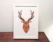 Staghead wall art, Stag print, Deer illustration, Geometric deer, Wildlife art, Forest animal art, Fox print, Woodland nursery, New Zealand