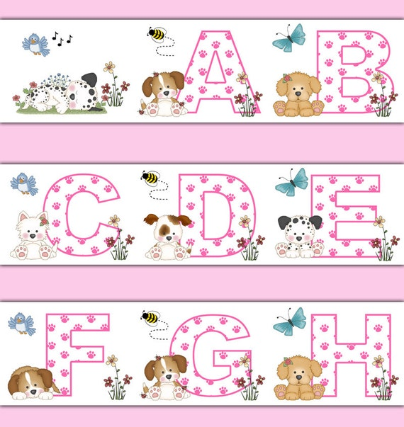 Baby Nursery Art Print Dog Abc Nursery Decor Alphabet Print