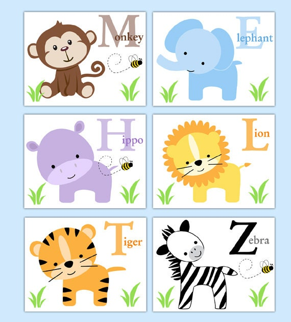 Alphabet Wall Decor Nursery : Safari animal prints boy neutral nursery alphabet wall art