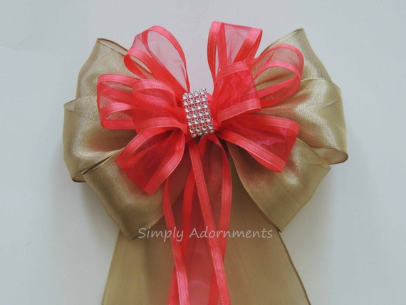 Coral Gold Wedding Pew Bow Coral gold Silver Bling Wedding Aisle Decoration Gold Coral Church Pew Bow Coral church Pew Bow Bridal shower bow