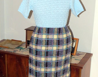 Vintage 1960s | Aqua, Purple and Black Plaid Wool Pencil Skirt | by Made in Ireland for Filene's |  Size S