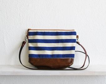 Striped crossbody bag, Nautical bag, Summer bag, Day bag, Everyday Purse, Cross body bag, Navy blue and white