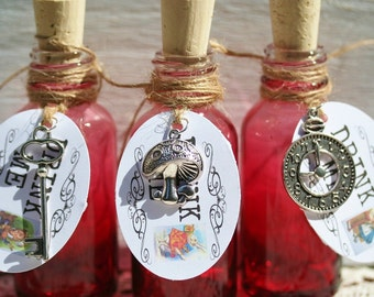 10 Bottles Tags Charms Alice in Wonderland Favors Drink Me Bottles Drink Me Tags For Alice In Wonderland Party Tea Party Favors