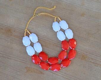 Red and White Statement Necklace - Oklahoma Sooner Arkansas Razorback Necklace - NC State Necklace - Miami of Ohio, University of Utah