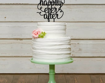 Customized Wedding Cake Topper, Personalized Cake Topper for Wedding, Custom Wedding Cake Topper, Happily Ever After Cake Topper