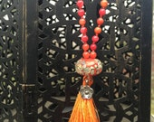 Orange Carnelian Agate Mala Beads Lampwork Tassel Necklace