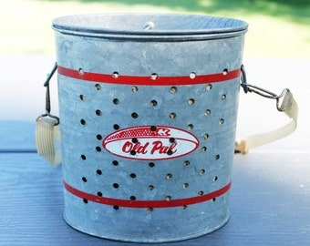 Vintage 1950s Old Pal Wade-In Galvanized Minnow Bucket