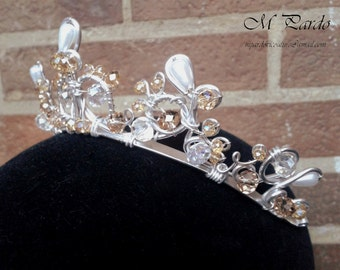 Ballet headpiece - basic tiara in silver with faux pearls and gold crystals