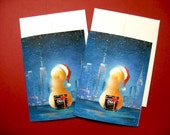 Christmas Card, 2 blank greeting cards with envelopes from my original artworks,  gay interest, 4.25x5.5